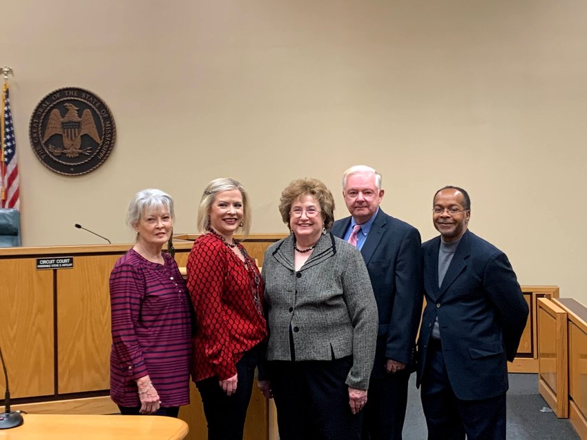 From left, District 1 Commissioner Helen Carney, District 2 Commissioner Lauren Payne, District 3 Commissioner Pat Truesdale, District 4 Commissioner Dan Dickinson, and District 5 Commissioner Leroy Lacy.
