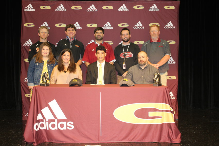 Bryce Fowler, a senior at Germantown High School, signed to play baseball at The University of Southern Mississippi. Pictured with Bryce are his parents, Alexis an Timothy Boutwell, and sister Hadley. Coaches pictured are Brian Hardy, Drew Crowell, TJ Grissom, Wesly Bolden, and Presley Hill.