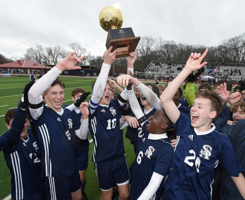 The St. Andrew's Saints celebrate after beating Clarkdale in the MHSAA Class I State Soccer Championships on Saturday, February 6, 2021, at Clinton High School. Pictured, left to right, are Jack Crawford, Hudson Bataille, Rolen Fanning, Jackson Bataille, Dami Oluwatade, Merritt DeVoss, and Nico Buford.
