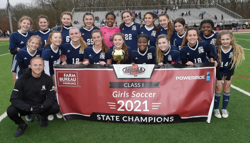 St. Andrew's v. St. Patrick in the MHSAA Class I State Soccer Championship on Saturday, February 6, 2021, at Clinton High School in Clinton, Miss. Pictured front row, left to right, are India Mitchell, Caitlyn Blackwell, Samantha Smith, Mary Reagan Barnett, Caroline Croft, Kira Leflore, Madeleine Halford, Allison Santa-Cruz, Lucy Rust (Back) Kate Simms, Isabella Banck, Ava Croft, Ashley McCaughan, Maddie Williams, Sarah Belk Poulson, Gigi Fraser, Amelia McCaughan, Celia Lane, Haydenne Archie and (Kneeling in front) Head Coach Will Monsour.