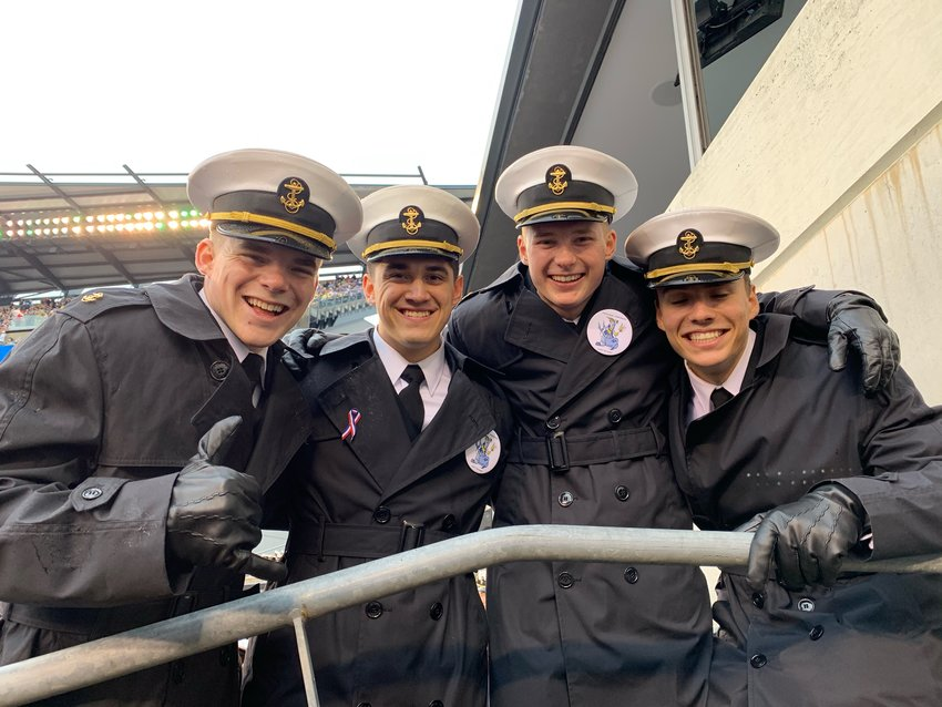aMidshipman 2nd Class Peyton Seago stands with his fellow Midshipmen. Pictured, from left to right: Peyton Seago, Matt McGee, Conner Beasley, and Christian Giggie.