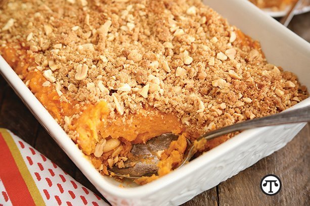 Family and friends will go nuts for this peanut butter sweet potato casserole.