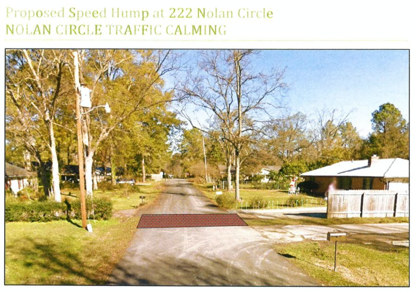 A rendering showing the proposed speed bump.