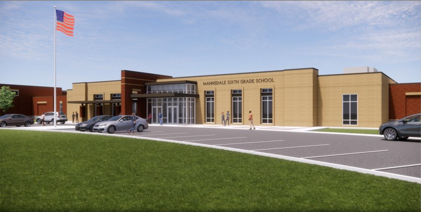 A rendering shows what the new Mannsdale Sixth Grade School will look like once complete.