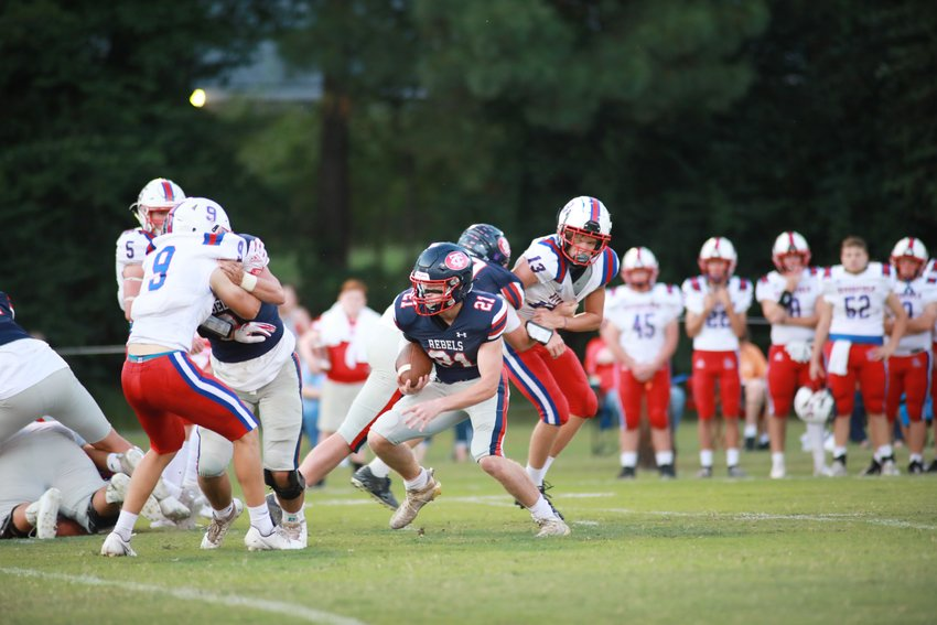 Zac Clark receives some blocking help from Brayden Presley as he eyed the endzone.