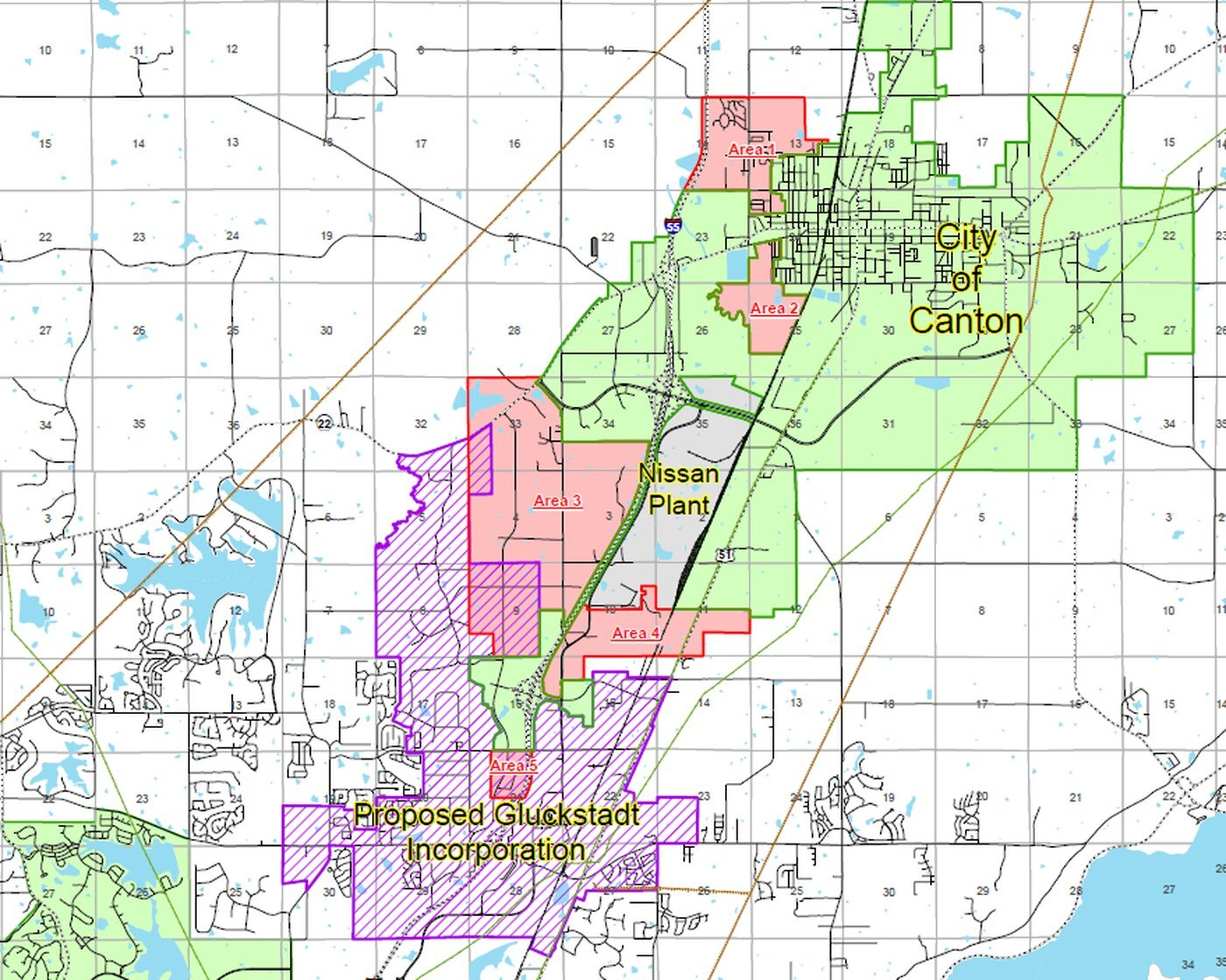 This map shows the proposed Gluckstadt boundaries as well as Canton's annexation requests.