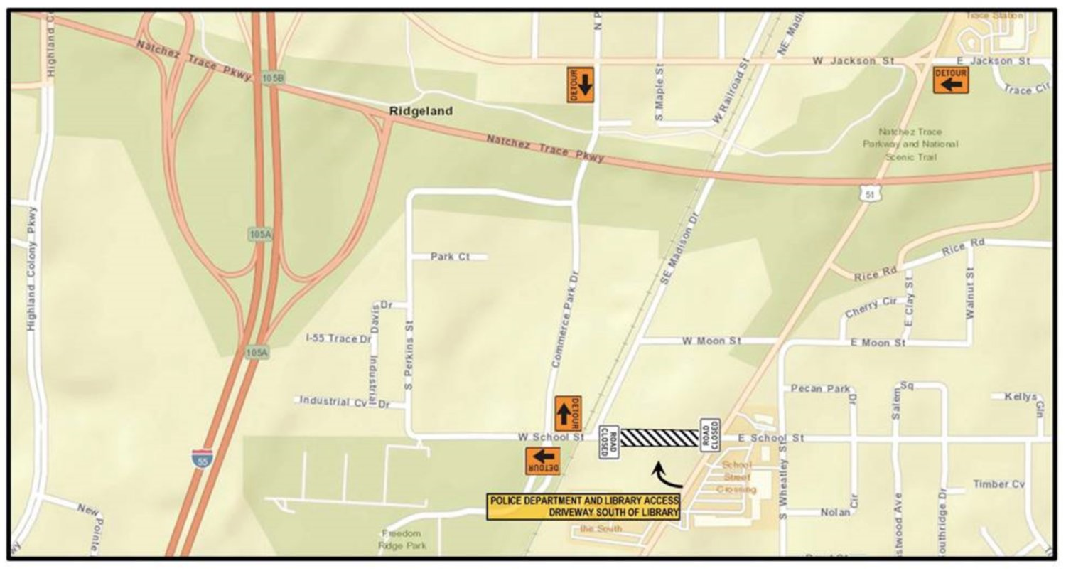 School Street from the intersection of Highway 51 to Old Town Crossing (railroad tracks) will be closed beginning Wednesday morning, Jan. 27 at 8:30 am and Thursday, Jan. 28 at 8:30 am. until rush hour each afternoon.