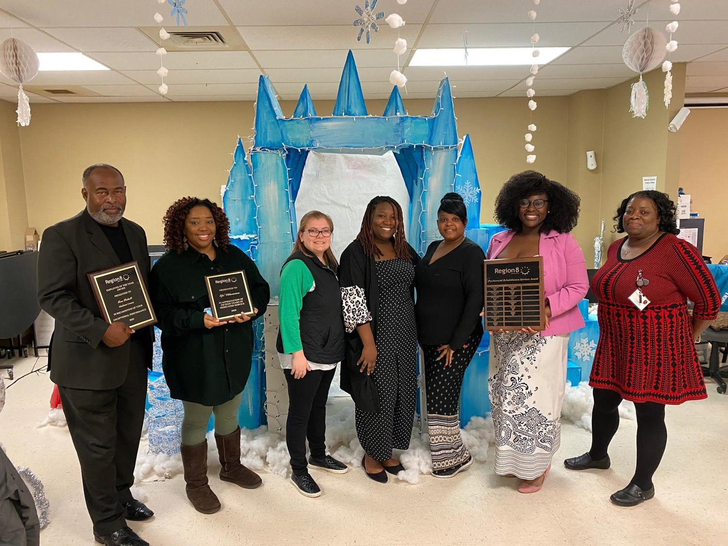 Standing L to R: Tim Pickett, Madison County Employee of the Year; Efe' Okhomina,