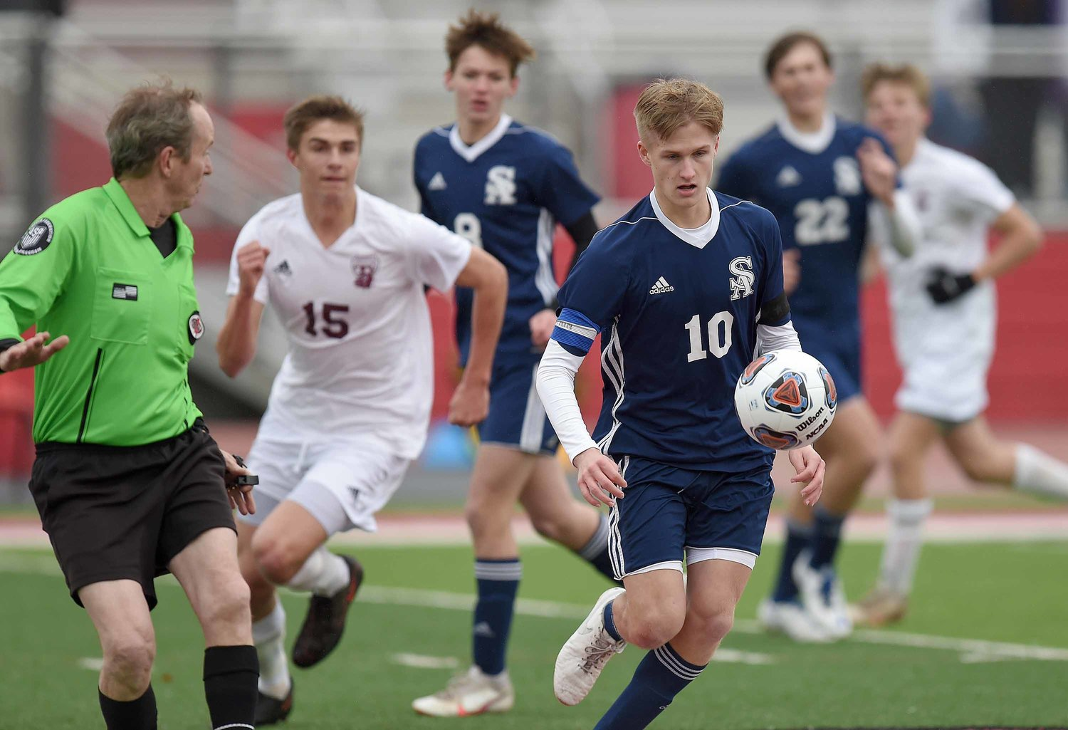 St. Andrew's Jackson Bataille (10) moves the ball against Clarkdale in the MHSAA Class I State Soccer Championships on Saturday, February 6, 2021, at Clinton High School in Clinton, Miss.