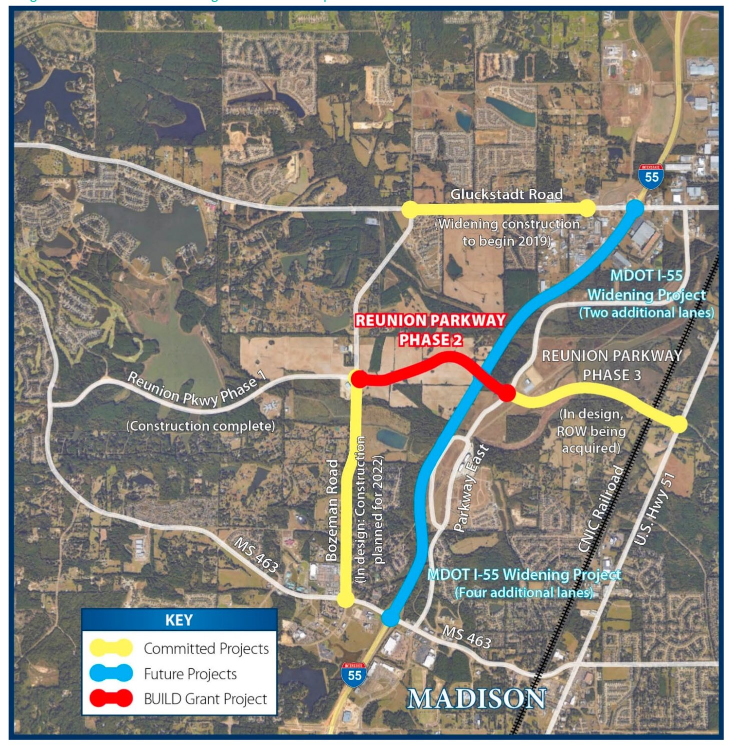 This map shows future traffic projects and some in the works, including Reunion Phase II and Reunion Phase III.