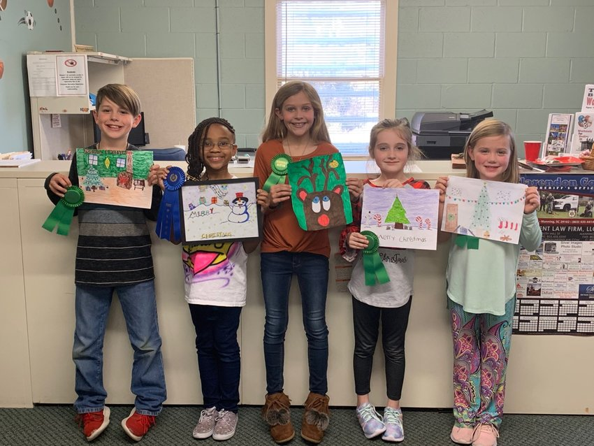 (Left to Right) Carter Miles, Manning Primary   School; Lauren Parker, Manning Primary   School; Daley Boykin, Laurence Manning   Academy; Adelaide Herlong, Manning Primary   School; and Emma Webster, Walker Gamble  Elementary