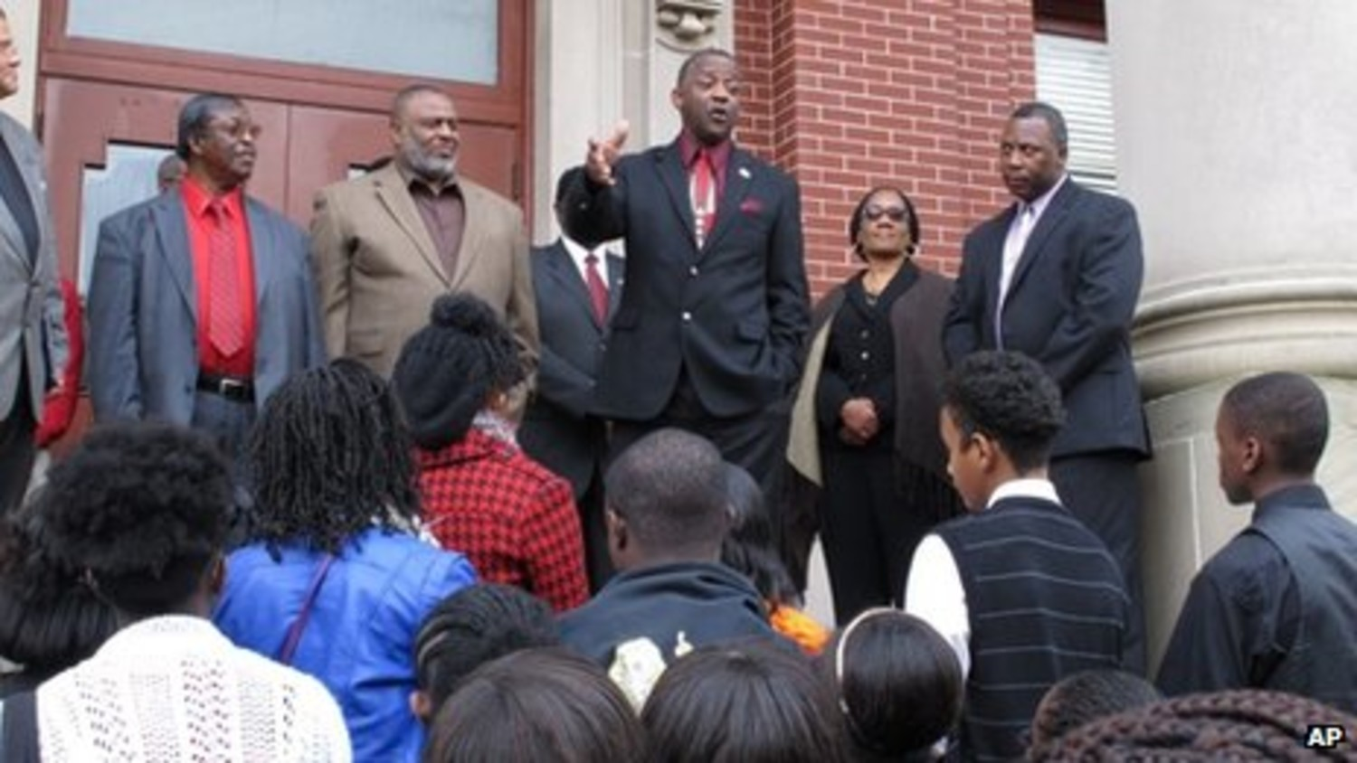 ASSOCIATED PRESSLocal historian George Frierson speaks on the steps of the Clarendon County Courthouse in 2013 during a protest asking for the exoneration of George Julius Stinney Jr.