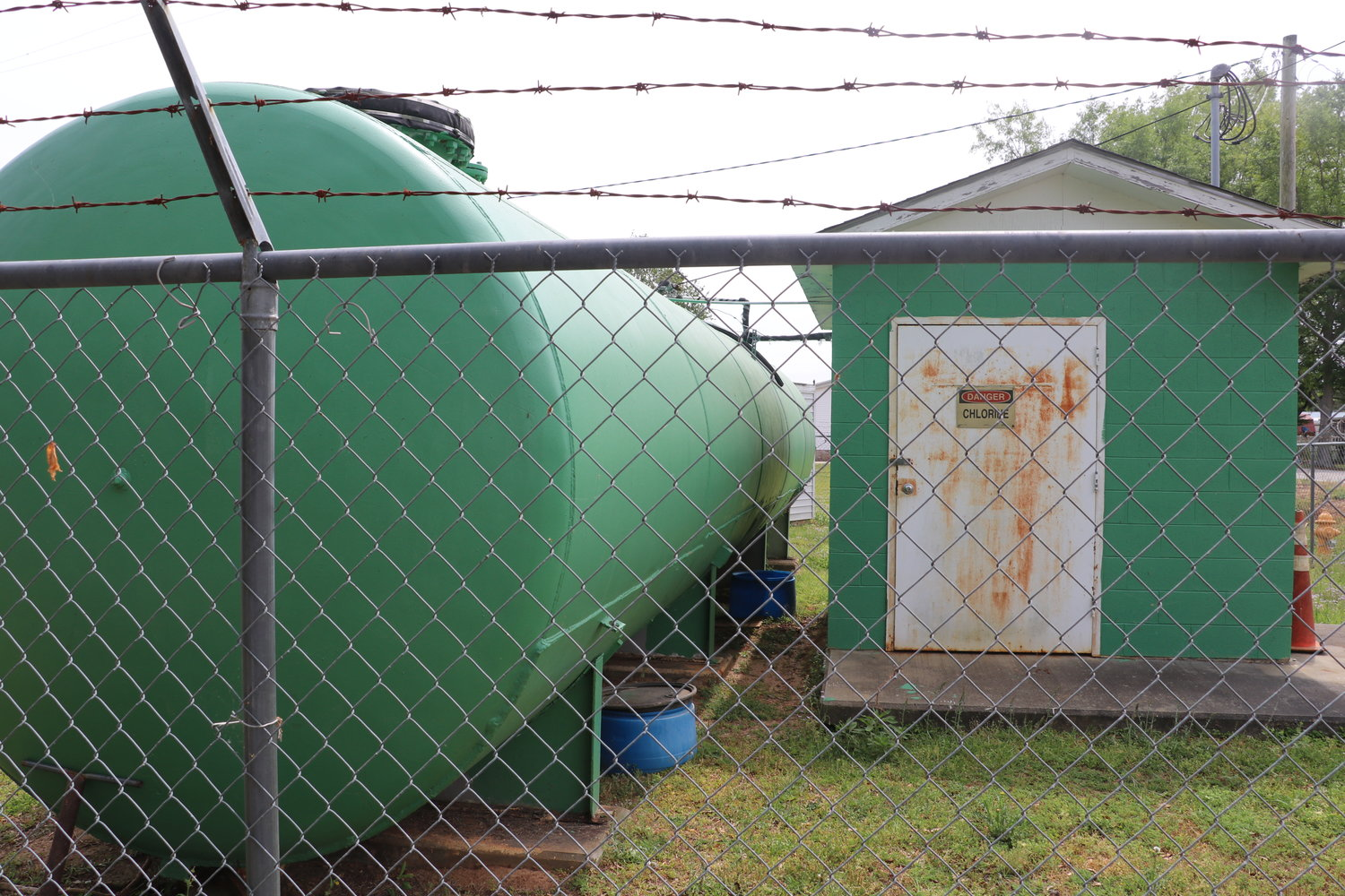 The Town of Summerton-ran water system for Goat Island, which appears to be visibly damaged.