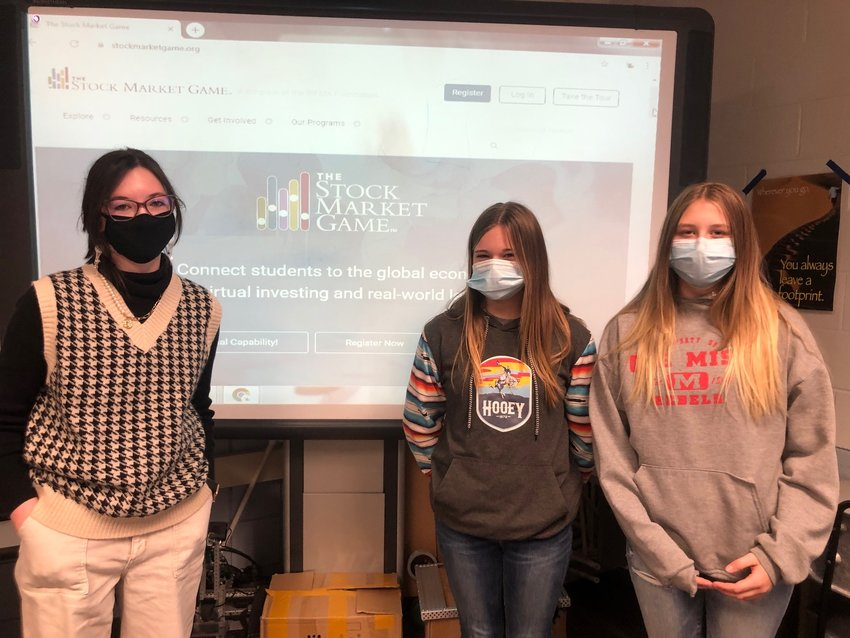 Eighth-grade STEM students, from left, Jacey Shotts, Payton Gipson and Kayee Myers at Neshoba Central Middle School took top regional honors in the Mississippi Stock Market Game, earning about $30,000 in virtual game cash. Not pictured is Hayden Barrett.