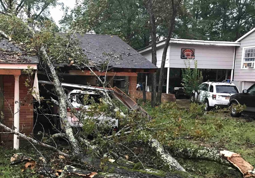 A tree fell on a house and car Saturday on Columbus Avenue after storms rolled through Neshoba County with 80 m.p.h. gusts.