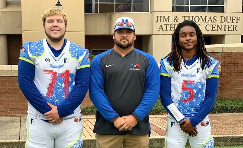 Locals participating in the Mississippi-Alabama all-star game are, from left, Neshoba Central's Bryce Parkerson and Coach Patrick Schoolar, and Philadelphia's Lideatrick Griffin.