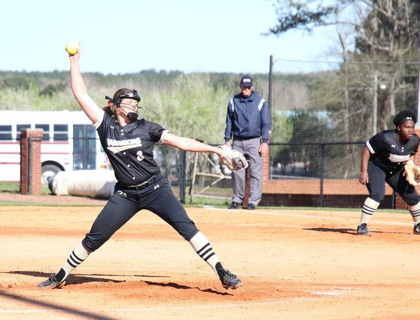 East Central sophomore Braelyn Boykin pitched a one-hit shutout in the Lady Warriors' game one win over Coahoma.  School photo
