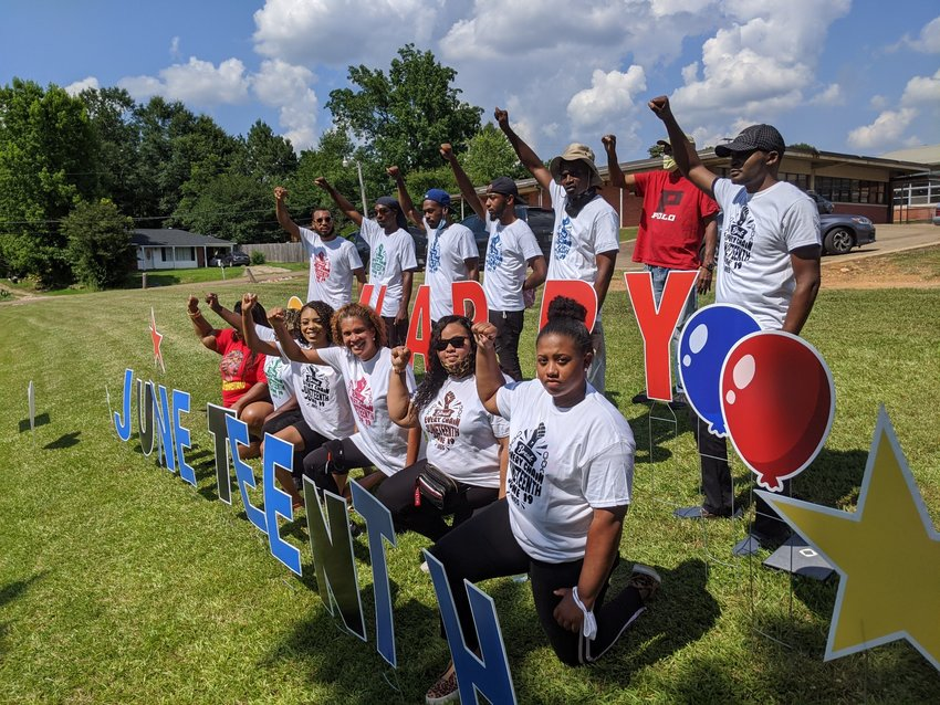 Members of the Black Empowerment Organization sponsored the Juneteenth Celebration which was held at the Booker T. football field Friday. Members of the committee are, front row from left, Ayaine Whitlock, Maggie Burnside, Tiffon Moore, Tiffany Moore, Brianna Colbert, Shakya Boggan, second row from left, Malek Moore, Kerry Fox, Desmond Moore, Antajh Boggan and Laroloret Tisdale. Not pictured are Antonio Cole and Cassie Henson.