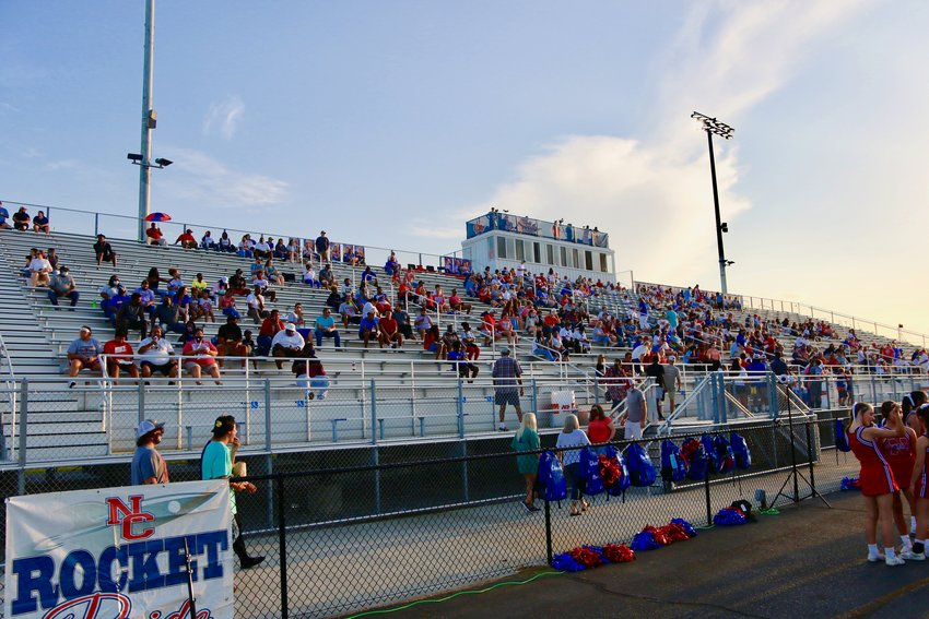 A social distanced crowd at Neshoba Central enjoys the opening night of Rockets football.