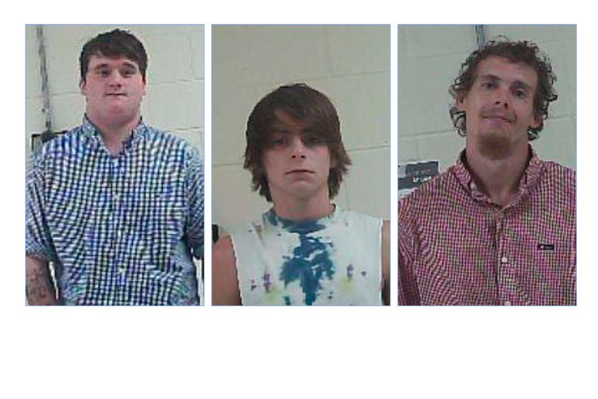 Michael Blaine Gill, Travis Allen James, Jr., and and Joshua Wilkerson were arrested last week in connection with a four-wheeler theft at a small engine repair shop in August.