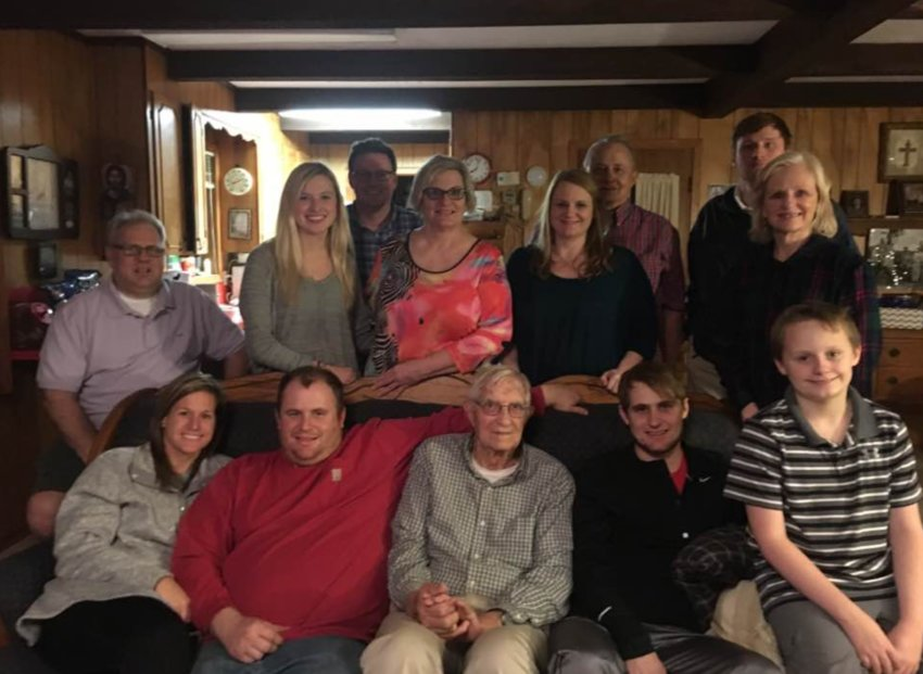 John Burt, Sr., front center, celebrated his 95th birthday on December 22.This photo with his family is from December 2018.