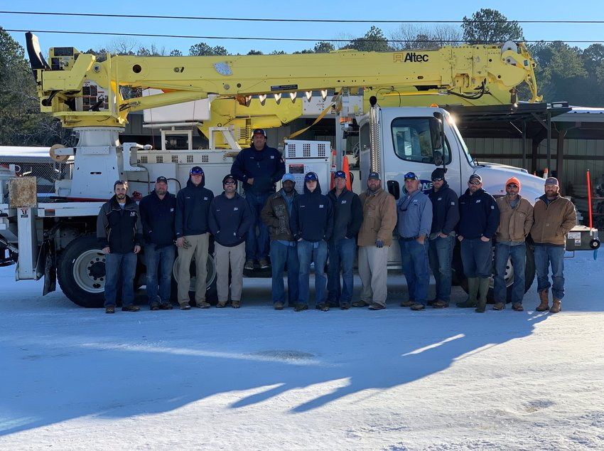 A crew from North East Mississippi Electric Power Association headed to Neshoba County last Friday to assist Central Ellectric.