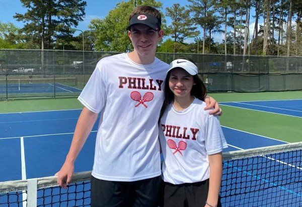 Philadelphia Tornadoes mixed doubles tennis team, Trey Posey and Ruthie Storment went 9-0 to become 2A district champs. They won the recent final district match against Madison St. Joe and will compete in the state tennis tournament in Oxford on April 26.
