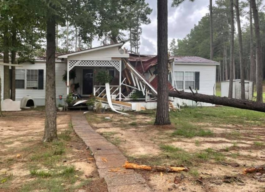 Pam Stokes Irons shared this photo where a tree fell on their home in the Bond community Monday during severe weather.