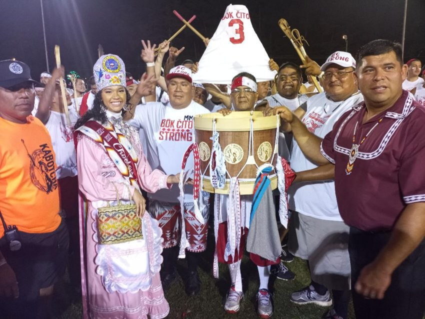 Choctaw Chief Cyrus Ben, right, and Princess Shemah Ladania Crosby present the Championship drum to the Bok Cito team following their 6-5 victory over Pearl River Saturday night in the men's division finals of the World Series of Stickball. This is the third straight championship for Bok Cito.