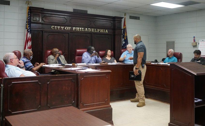 Philadelphia Police Chief Eric Lyons addresses members of the Philadelphia Mayor and Board of Aldermen at Tuesday's board meeting.