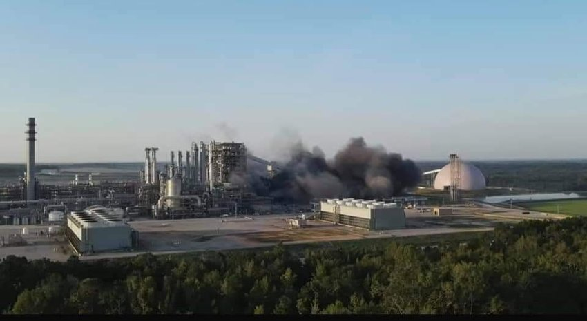 Parts of the Kemper County power plant were imploded Saturday morning and heard as far away as the Neshoba County Fairgrounds, Arlington and even  Decatur, according to social media reports. This Facebook photo was circulating but could not be confirmed as being Saturday morning.