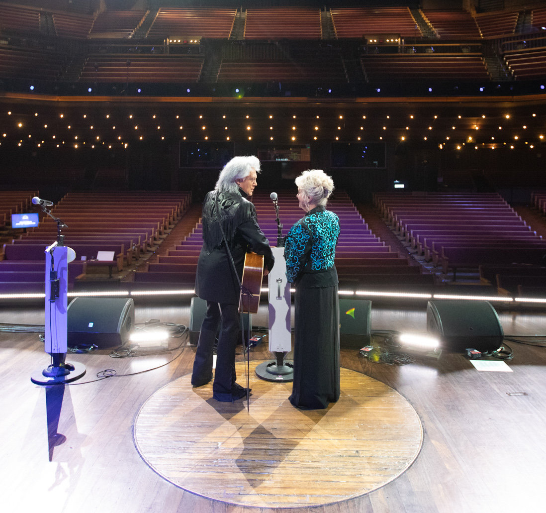 Neshoba County native Marty Stuart and wife Connie Smith on stage at the Grand Ole Opry moments after the last virtual broadcast Sept. 26. Celebrrating the 95th Anniversary, the Opry will welcome back up to 500 guests each Saturday in October.
