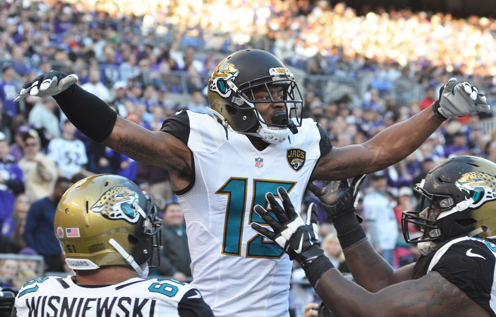 Jaguars wide receiver Allen Robinson had five catches for 51 yards with a touchdown on Sunday. With the win over Baltimore Jacksonville (3-6) snapped a 13-game losing streak on the road.
