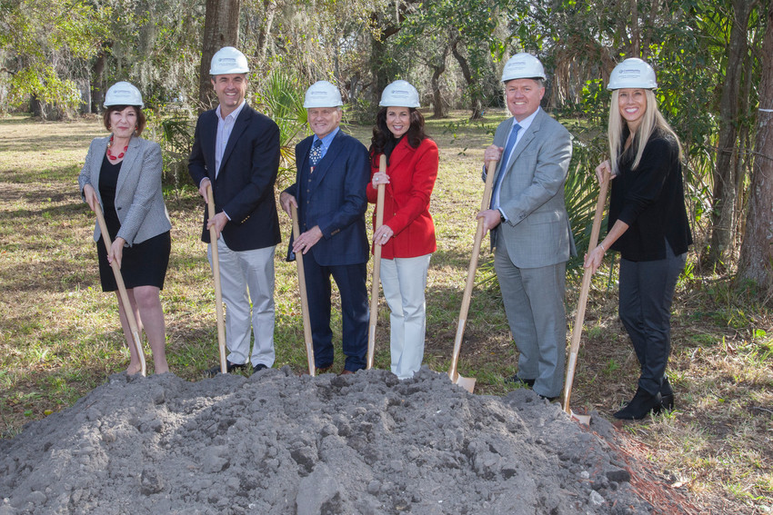 Susan Ponder-Stansel, Fernando J. Acosta-Rua, Steve and Christine Chapman, Ray Driver and Katherine Batenhorst officially break ground on the Stephen R. Chapman Family Community Campus in St. Augustine, which is slated to open in late 2018.