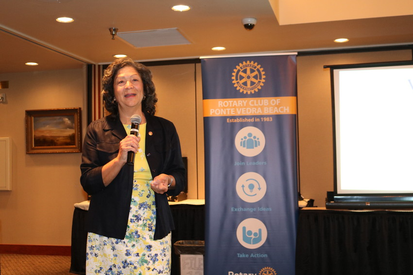 St. Johns County Supervisor of Elections Vicky Oakes addresses the Rotary Club of Ponte Vedra Beach July 19.