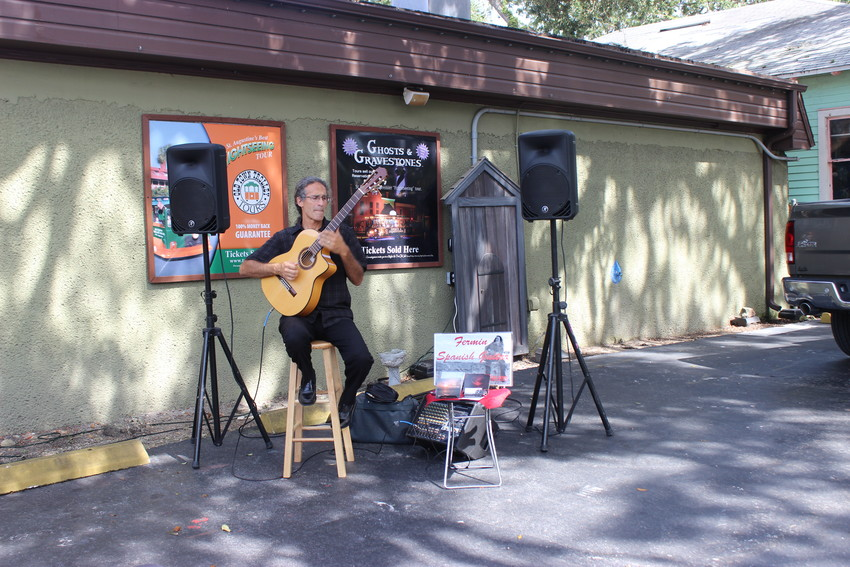 A musician provides entertainment at the event.