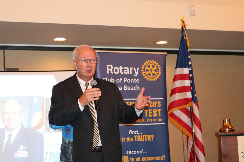 Retired four-star general and former Joint Chiefs of Staff member Craig McKinley addresses the Rotary Club of Ponte Vedra Beach Aug. 2 at Marsh Landing Country Club.