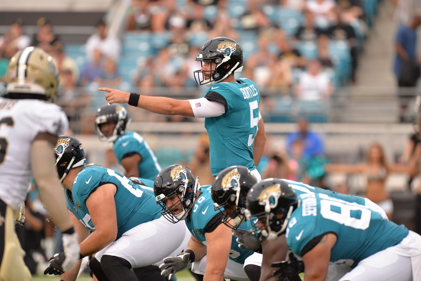 Quarterback Blake Bortles sets up the Jacksonville Jaguars' first-team offense in the squad's preseason contest against the New Orleans Saints on Aug. 9.