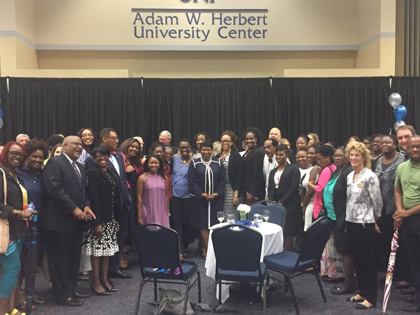New Duval County Public Schools Superintendent Dr. Diana Green (center) stands with members of the community.