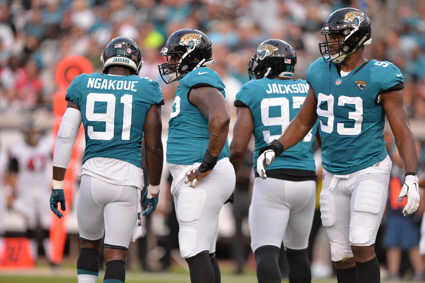 The Jaguars defense prepares for the next play against the Falcons.