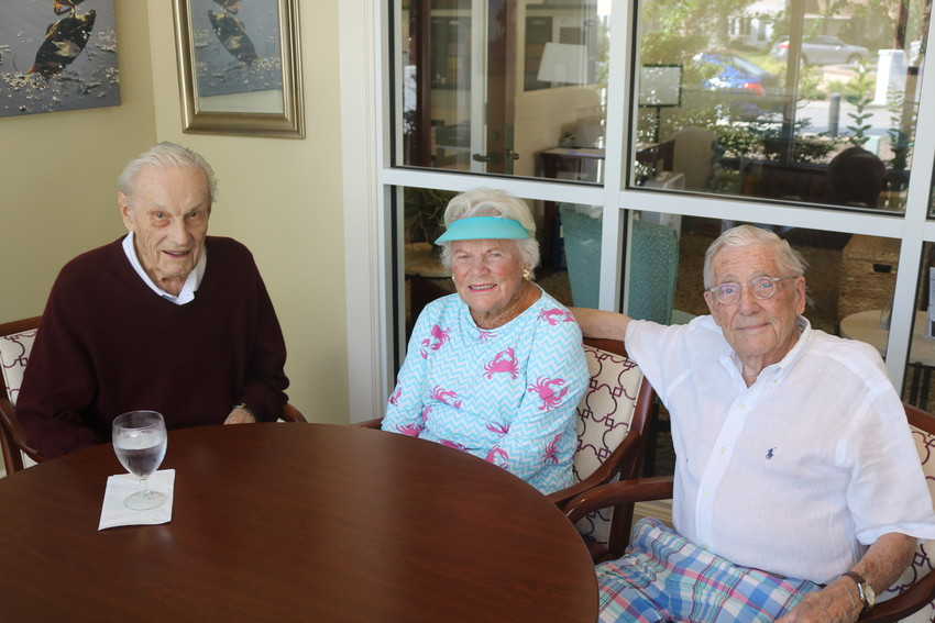Vicar's Landing residents Joseph O'Gara, 100, Paul Snyder, 100, and Barbara West, 102