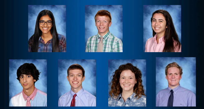 Seven Bolles seniors are listed among the 16,000 semifinalists in the 64th annual National Merit Scholarship Program this year. Pictured is Nithya Badarinath (from left, back row), Richard Sollee, Madeline Duhnoski, Kamren Khan (bottom row), Adam Pooley, River Reynolds and Jack Wessell.