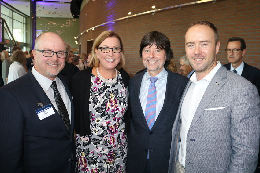 """Erik Ewers, Julie Coffman, Ken Burns and Chris Ewers gather prior to the screening of """"The Mayo Clinic: Faith – Hope – Science"""" at the University of North Florida's Lazzara Performance Hall on Thursday, Sept. 13. Burns and the Ewers brothers directed the documentary, while Coffman produced it."""