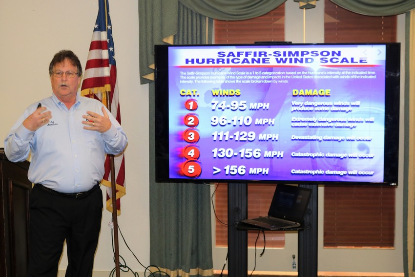 St. Johns County Emergency Management Deputy Director Jeff Alexander informs St. Johns County Chamber of Commerce Ponte Vedra Beach Division members about the threats posed by hurricanes at a Sept. 19 luncheon held at Sawgrass Country Club.
