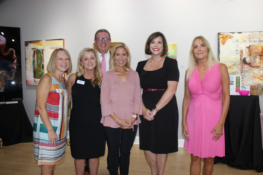 Wendy Ranson, Debra Smith, Scott Grant, Donna Deegan, Molly Lewis Sasso, and Marie Lyon Carney gather at a women's empowerment social benefiting The DONNA Foundation on Sept. 13 at the Cultural Center at Ponte Vedra Beach.