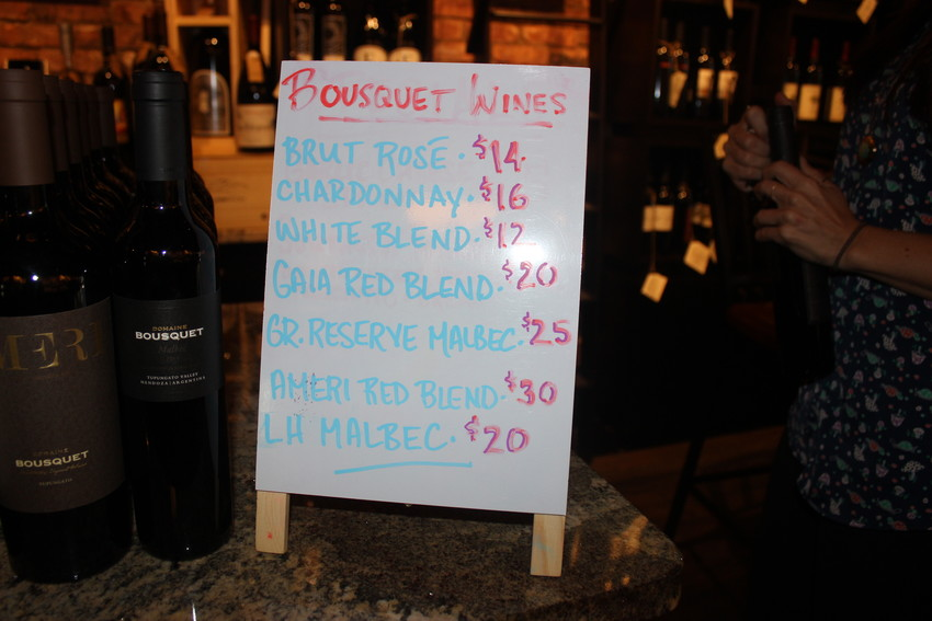 """Attendees of the """"Meet the Winemaker"""" event had the opportunity to sample several wines from Domaine Bousquet."""