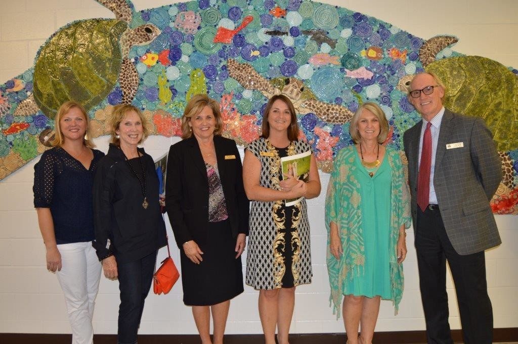 From left to right: Emily Stephens, PTO President; Marilyn Hoener, PVEducation Foundation President; Kathleen Furness, Principal PVMKR; Dawn Sapp, Associate Superintendent for  Curriculum Services; Barbara Stroer, Rawlings Art Teacher; Tommy Bledsoe, Arts Program Specialist