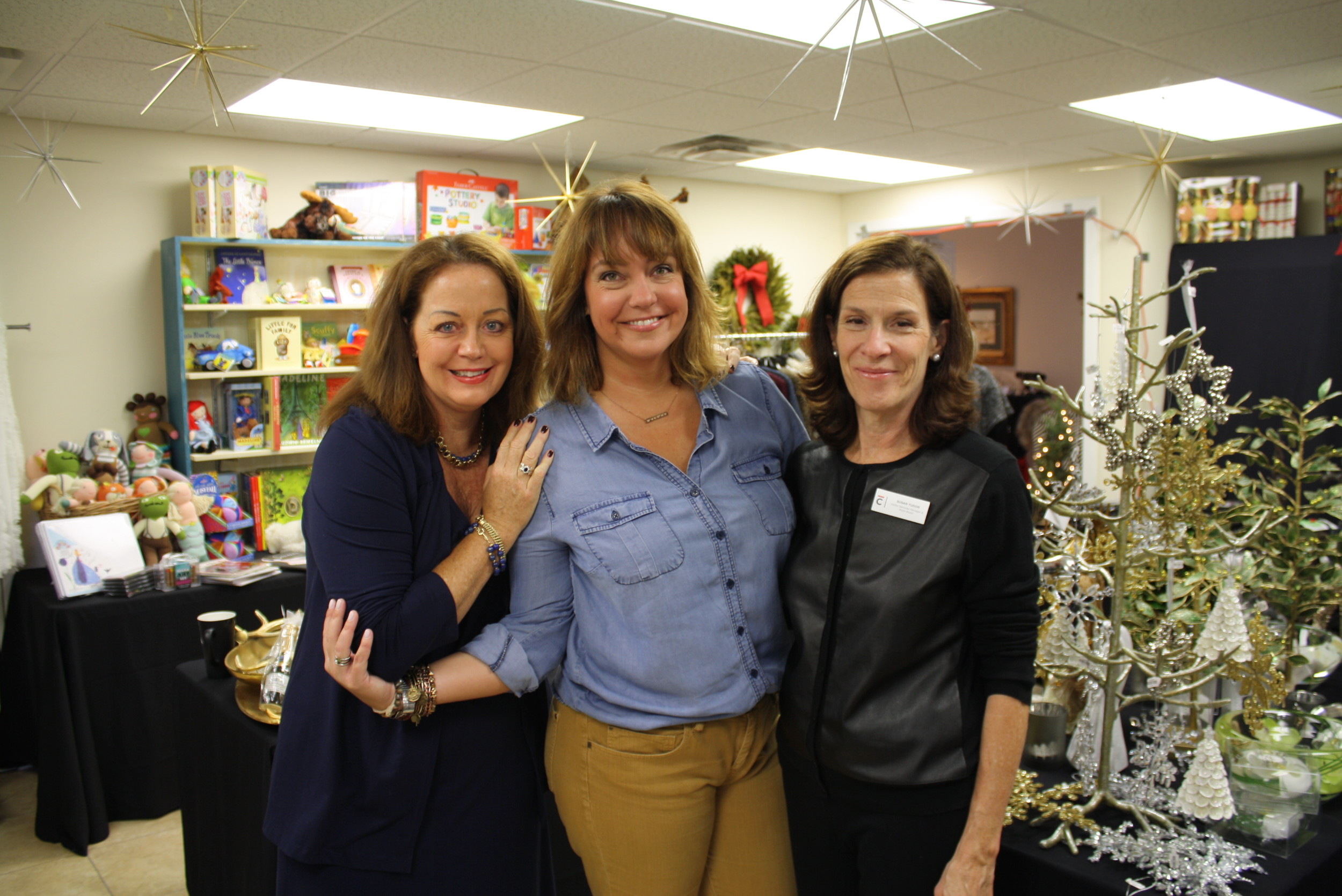 Stefanie Robinson (owner of Flashes of Brilliance and Holiday Shoppes committee member), Toni Boudreaux (CCPVB Director of Development) and Susan Tudor (Manager of Visitor Services & Store Buyer for the Cummer Museum of Art & Gardens).