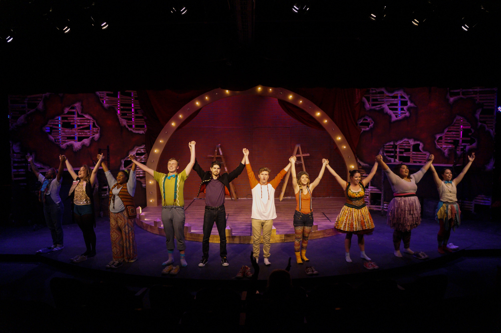 "The company of ""Godspell"" at Players by the Sea Theatre."