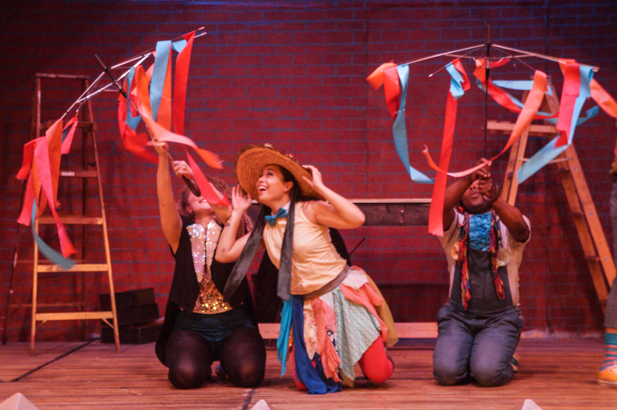 "Sadie La Manna, Nikki Ignacio and Jemel Washington retell a parable in ""Godspell."""